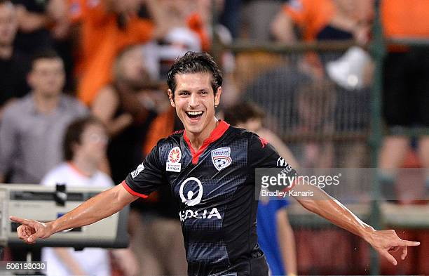 Pablo Sanchez of Adelaide celebrates scoring a goal during the round 16 ALeague match between the Brisbane Roar and Adelaide United at Suncorp...