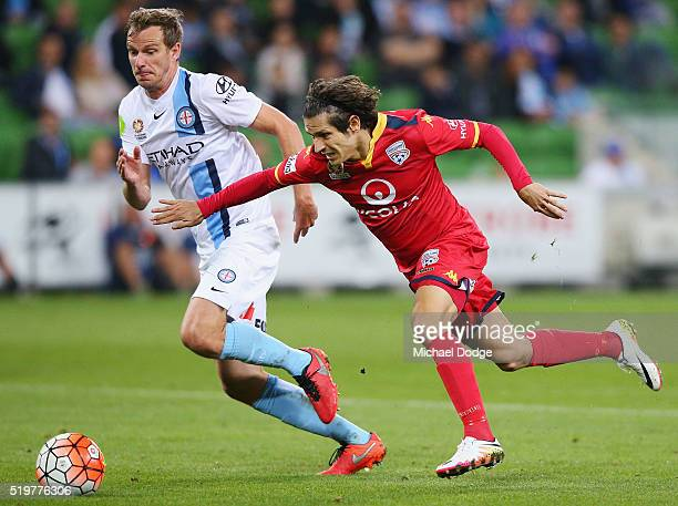 Pablo Sanchez of United competes for the ball against Alexander Wilkinson of the City during the round 27 ALeague match between the Melbourne City FC...