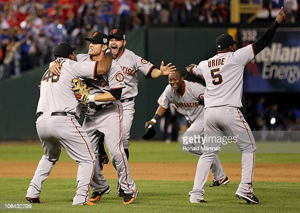 Pablo Sandoval Freddy Sanchez Cody Ross Edgar Renteria and Juan Uribe of the San Francisco Giants celebrate after they won 31 against the Texas...