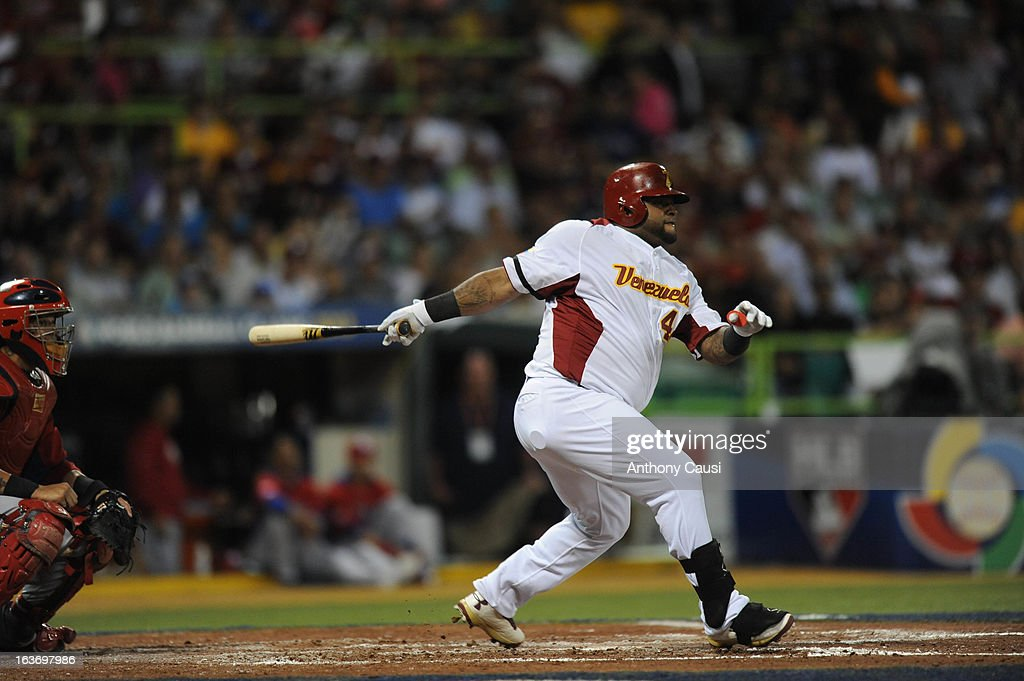 Pablo Sandoval #48 of Team Venezuela hits a double in the bottom of the third inning during Pool C, Game 4 against Puerto Rico in the first round of the 2013 World Baseball Classic at Hiram Bithorn Stadium on March 9, 2013 in San Juan, Puerto Rico.