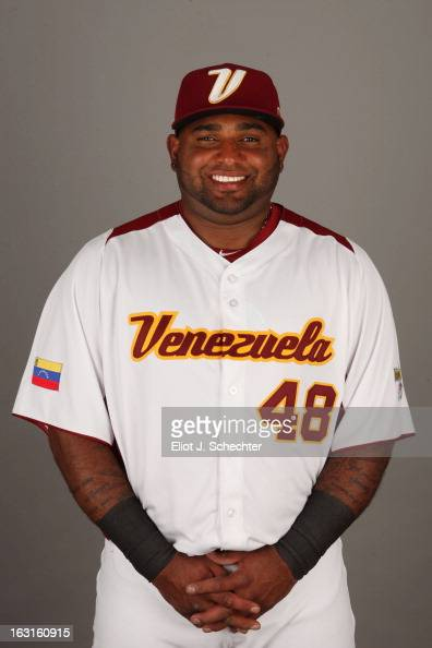 Pablo Sandoval of Team Venezuela poses for a headshot for the 2013 World Baseball Classic at Roger Dean Stadium on Monday March 4 2013 in Jupiter...