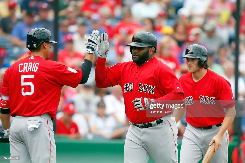 Pablo Sandoval #48 of the Boston Red Sox celebrates after hitting a two run home run in the first inning against the Philadelphia Phillies during a spring training game at Spectrum Field on March 12, 2017 in Clearwater, Florida.
