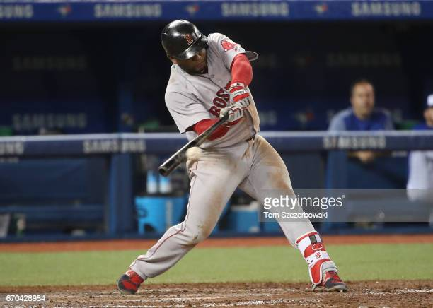 Pablo Sandoval of the Boston Red Sox hits a single in the fifth inning during MLB game action against the Toronto Blue Jays at Rogers Centre on April...