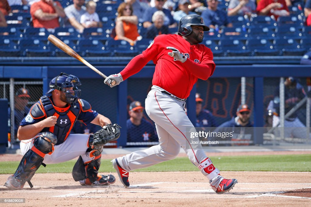 Pablo Sandoval #48 of the Boston Red Sox hits the ball against the Houston Astros in the first inning during a spring training game at The Ballpark of the Palm Beaches on March 6, 2017 in West Palm Beach, Florida. The Astros and Red Sox played to a 5-5 tie.