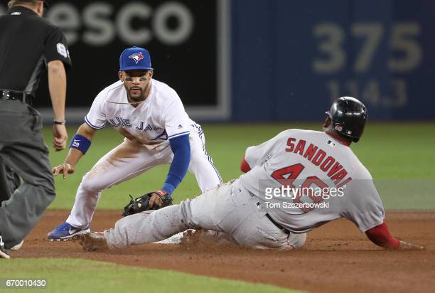 Pablo Sandoval of the Boston Red Sox is caught stealing second base in the fourth inning during MLB game action as Devon Travis of the Toronto Blue...