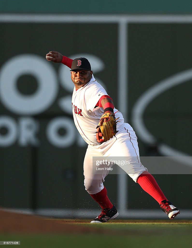 Pablo Sandoval #48 of the Boston Red Sox makes the throw to first base during the fourth inning of the Spring Training Game against the New York Yankees on March 15, 2016 at Jet Blue Park at Fenway South, Fort Myers, Florida. The Yankees defeated the Red Sox 6-3.