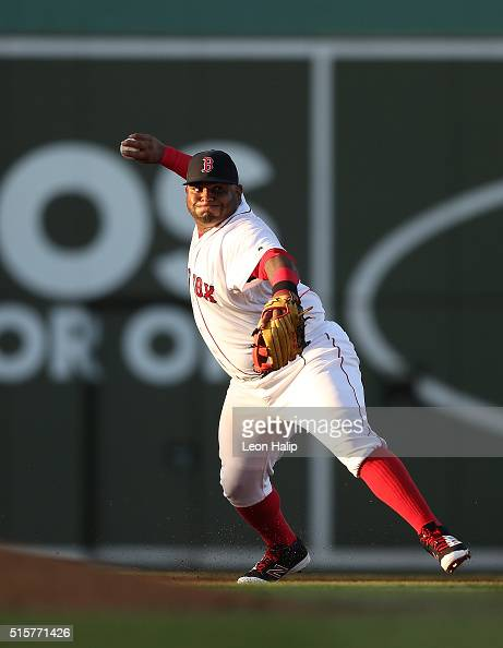 Pablo Sandoval of the Boston Red Sox makes the throw to first base during the fourth inning of the Spring Training Game against the New York Yankees...