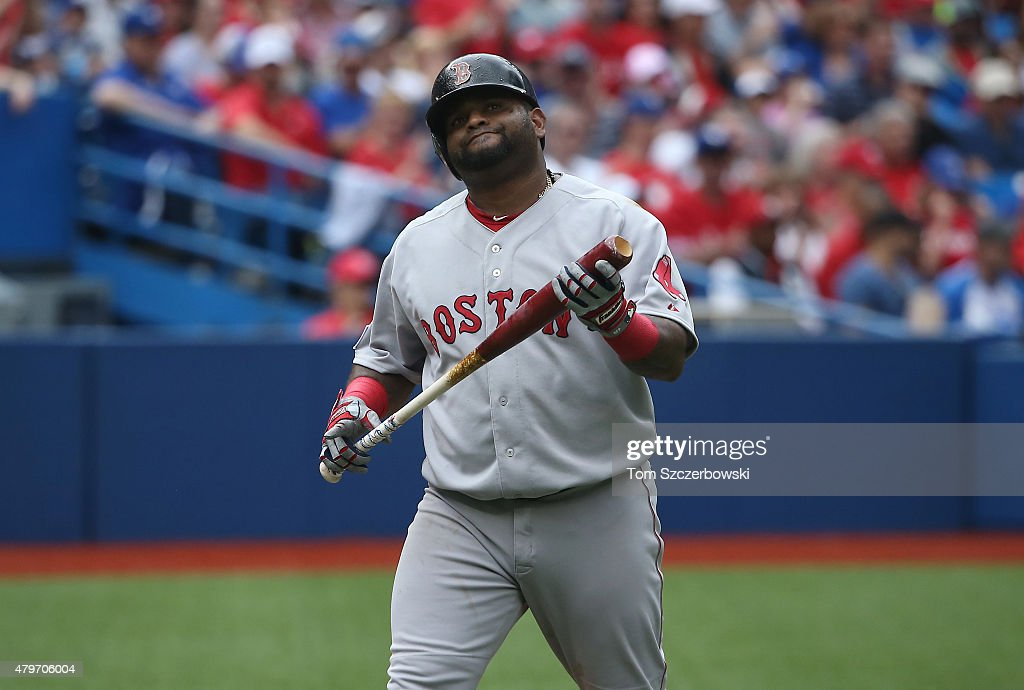 Pablo Sandoval of the Boston Red Sox reacts after striking out in the second inning during MLB game action against the Toronto Blue Jays on July 1...