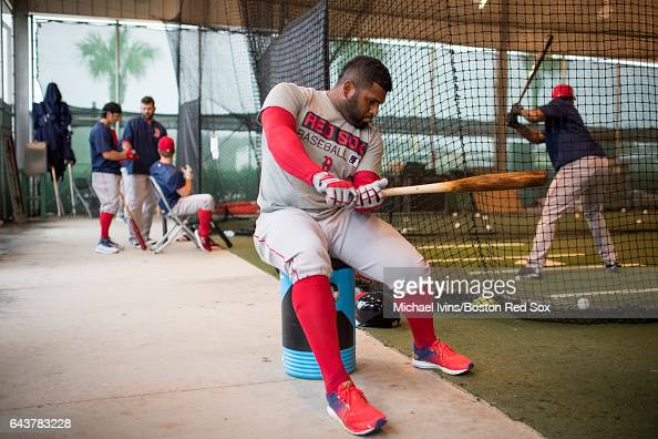 Pablo Sandoval of the Boston Red Sox waits for his turn in the batting cage during spring training workouts on February 22 2017 at jetBlue Park in...