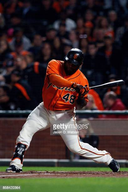 Pablo Sandoval of the San Francisco Giants at bat against the San Diego Padres during the first inning at ATT Park on September 29 2017 in San...