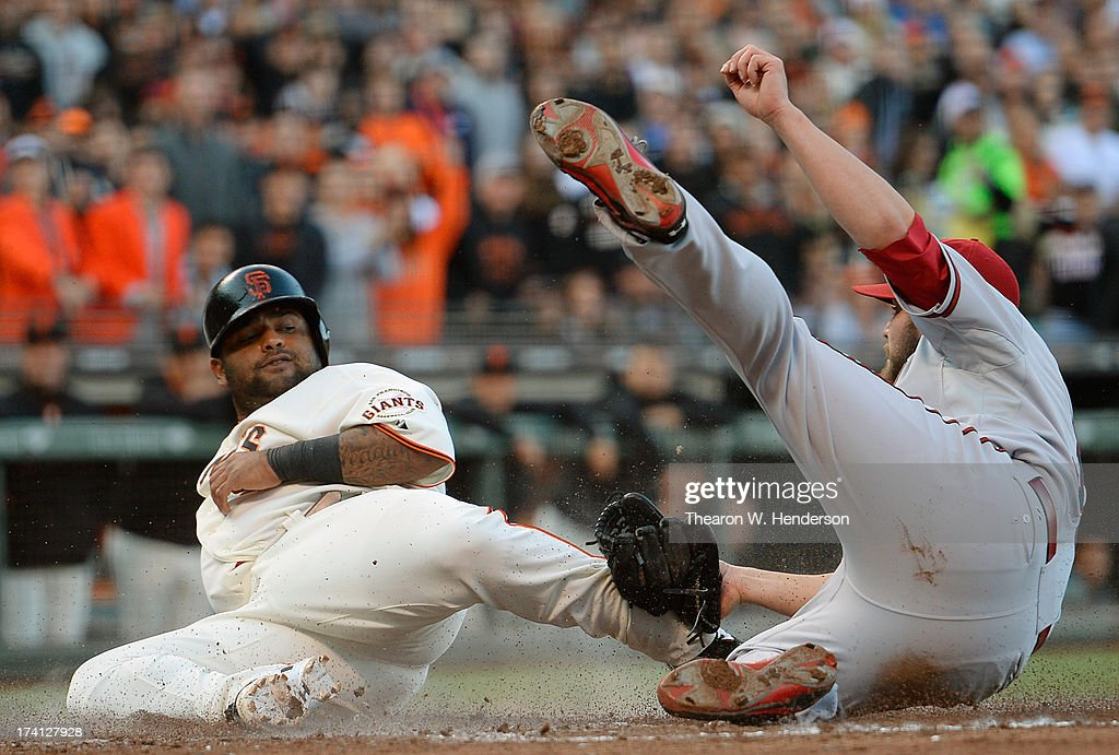 <a gi-track='captionPersonalityLinkClicked' href=/galleries/search?phrase=Pablo+Sandoval&family=editorial&specificpeople=803207 ng-click='$event.stopPropagation()'>Pablo Sandoval</a> #48 of the San Francisco Giants attempting to score on a wild pitch is tagged out by pitcher <a gi-track='captionPersonalityLinkClicked' href=/galleries/search?phrase=Wade+Miley&family=editorial&specificpeople=7511054 ng-click='$event.stopPropagation()'>Wade Miley</a> #36 of the Arizona Diamondback in the fourth inning at AT&T Park on July 20, 2013 in San Francisco, California.