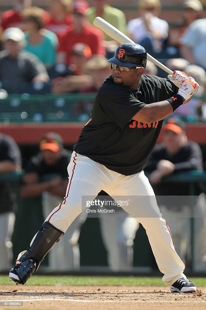 Pablo Sandoval of the San Francisco Giants bats against the Milwaukee Brewers during a spring training game at Scottsdale Stadium on March 4 2010 in...