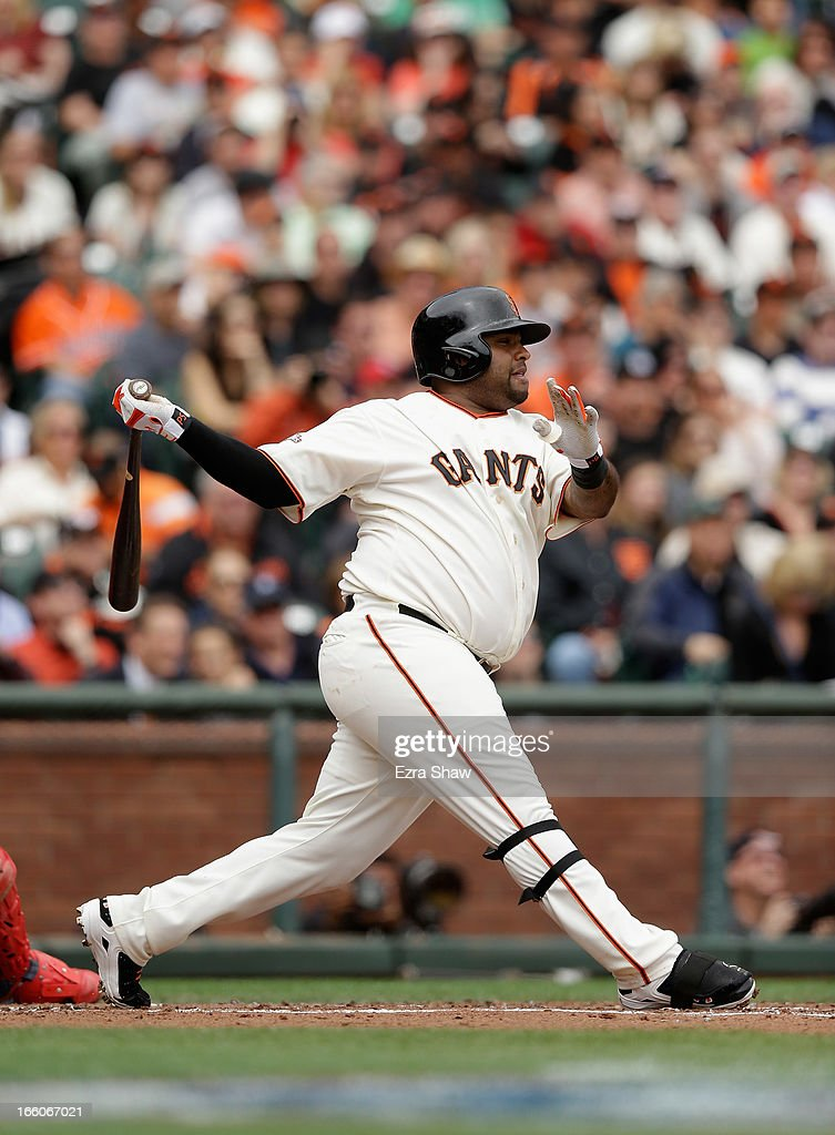 <a gi-track='captionPersonalityLinkClicked' href=/galleries/search?phrase=Pablo+Sandoval&family=editorial&specificpeople=803207 ng-click='$event.stopPropagation()'>Pablo Sandoval</a> #48 of the San Francisco Giants bats against the St. Louis Cardinals at AT&T Park on April 6, 2013 in San Francisco, California.
