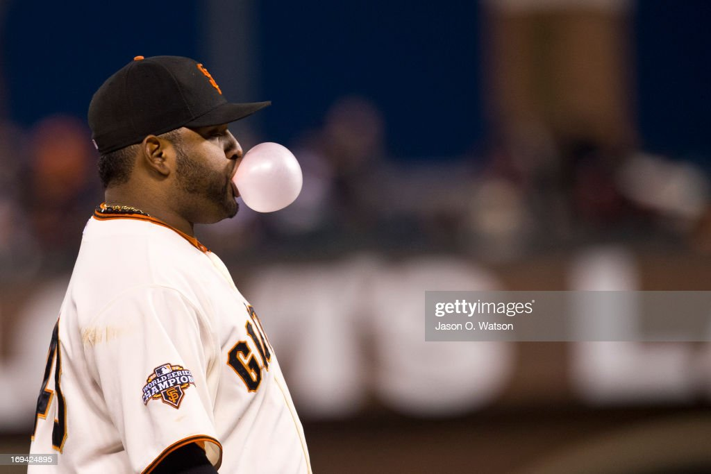 <a gi-track='captionPersonalityLinkClicked' href=/galleries/search?phrase=Pablo+Sandoval&family=editorial&specificpeople=803207 ng-click='$event.stopPropagation()'>Pablo Sandoval</a> #48 of the San Francisco Giants blows a bubble on the field during the fifth inning against the Washington Nationals at AT&T Park on May 21, 2013 in San Francisco, California. The San Francisco Giants defeated the Washington Nationals 4-2 in 10 innings.