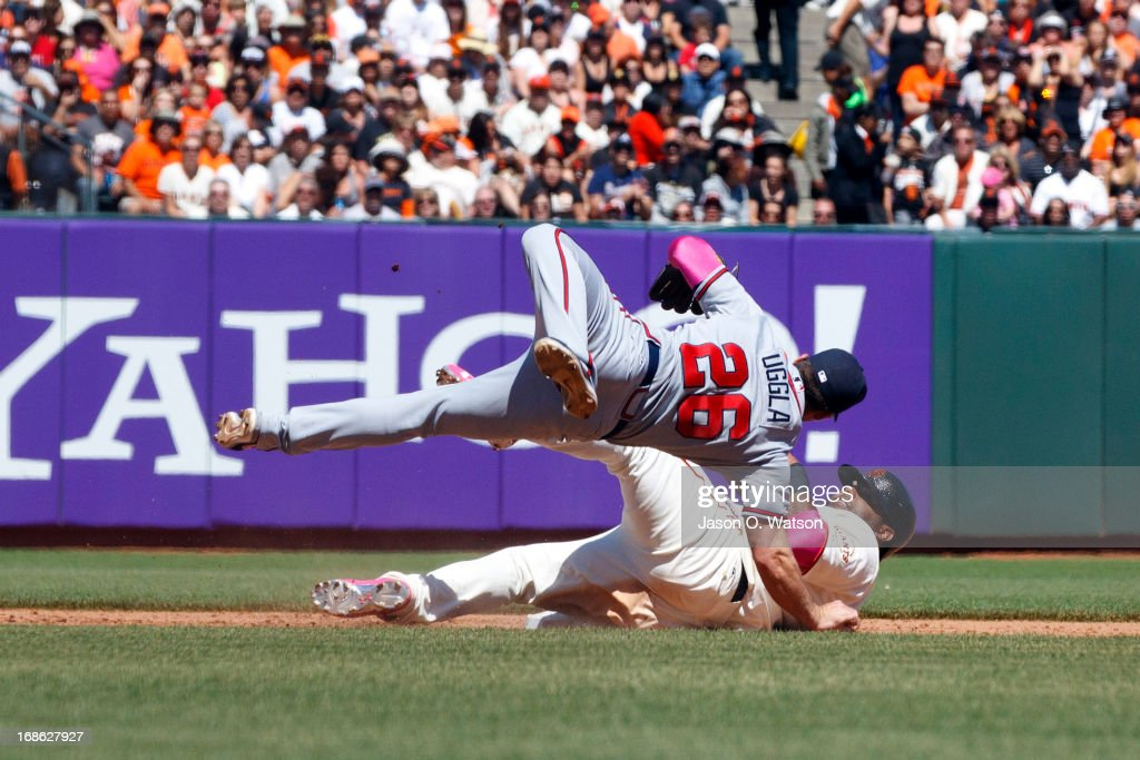 <a gi-track='captionPersonalityLinkClicked' href=/galleries/search?phrase=Pablo+Sandoval&family=editorial&specificpeople=803207 ng-click='$event.stopPropagation()'>Pablo Sandoval</a> #48 of the San Francisco Giants breaks up a double play attempt by <a gi-track='captionPersonalityLinkClicked' href=/galleries/search?phrase=Dan+Uggla&family=editorial&specificpeople=542208 ng-click='$event.stopPropagation()'>Dan Uggla</a> #26 of the Atlanta Braves at second base during the sixth inning at AT&T Park on May 12, 2013 in San Francisco, California.