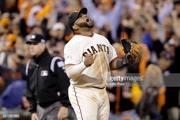 Pablo Sandoval of the San Francisco Giants celebrates after the Giants defeat the St Louis Cardinals 64 in Game Four of the National League...