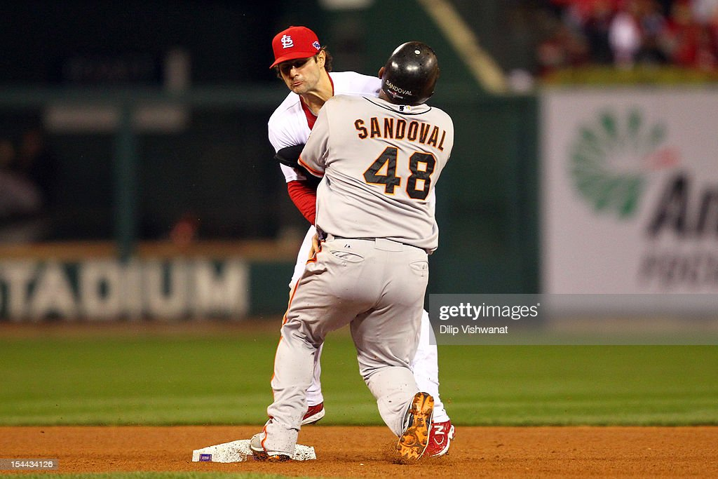 <a gi-track='captionPersonalityLinkClicked' href=/galleries/search?phrase=Pablo+Sandoval&family=editorial&specificpeople=803207 ng-click='$event.stopPropagation()'>Pablo Sandoval</a> #48 of the San Francisco Giants crashes into <a gi-track='captionPersonalityLinkClicked' href=/galleries/search?phrase=Pete+Kozma&family=editorial&specificpeople=6800748 ng-click='$event.stopPropagation()'>Pete Kozma</a> #38 of the St. Louis Cardinals after pitcher Lance Lynn #31 of the Cardinals has a throwing error allowing Marco Scutaro #19 of the Giants to score in the fourth inning in Game Five of the National League Championship Series at Busch Stadium on October 19, 2012 in St Louis, Missouri.