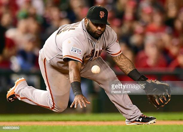 Pablo Sandoval of the San Francisco Giants fields a grounded ball hit by Jordan Zimmermann of the Washington Nationals in the seventh inning during...