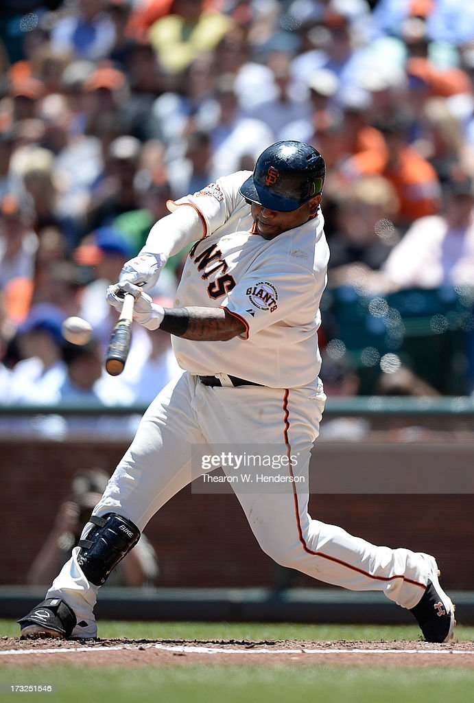 Pablo Sandoval #48 of the San Francisco Giants hit a single in the fourth inning against the New York Mets at AT&T Park on July 10, 2013 in San Francisco, California.