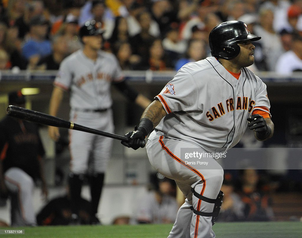 <a gi-track='captionPersonalityLinkClicked' href=/galleries/search?phrase=Pablo+Sandoval&family=editorial&specificpeople=803207 ng-click='$event.stopPropagation()'>Pablo Sandoval</a> #48 of the San Francisco Giants hits a solo home run during the fourth inning of a baseball game against the San Diego Padres at Petco Park on July 11, 2013 in San Diego, California.