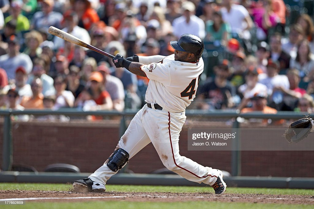 <a gi-track='captionPersonalityLinkClicked' href=/galleries/search?phrase=Pablo+Sandoval&family=editorial&specificpeople=803207 ng-click='$event.stopPropagation()'>Pablo Sandoval</a> #48 of the San Francisco Giants hits a two RBI triple against the Pittsburgh Pirates during the eighth inning at AT&T Park on August 25, 2013 in San Francisco, California.