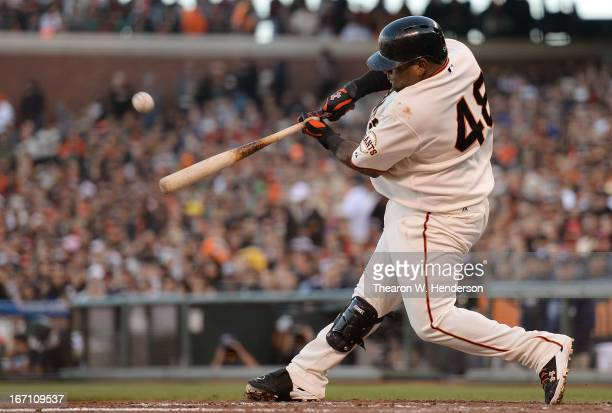 Pablo Sandoval of the San Francisco Giants hits a tworun home run against the San Diego Padres in the fourth inning at ATT Park on April 20 2013 in...