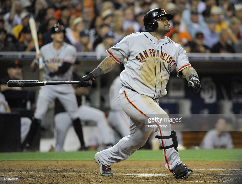 <a gi-track='captionPersonalityLinkClicked' href=/galleries/search?phrase=Pablo+Sandoval&family=editorial&specificpeople=803207 ng-click='$event.stopPropagation()'>Pablo Sandoval</a> #48 of the San Francisco Giants hits an RBI double during the fifth inning of a baseball game against the San Diego Padres at Petco Park on July 12, 2013 in San Diego, California.