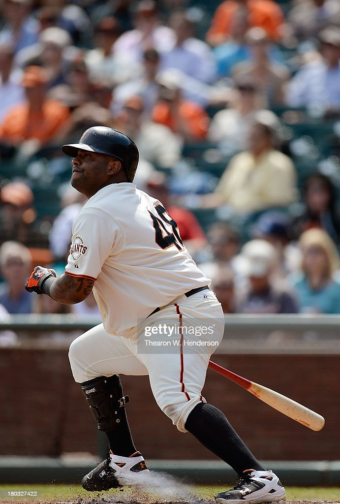 <a gi-track='captionPersonalityLinkClicked' href=/galleries/search?phrase=Pablo+Sandoval&family=editorial&specificpeople=803207 ng-click='$event.stopPropagation()'>Pablo Sandoval</a> #48 of the San Francisco Giants hits an RBI single scoring Gregor Blanco #7 during the third inning against the Colorado Rockies at AT&T Park on September 11, 2013 in San Francisco, California.
