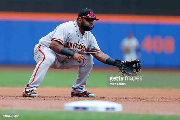 Pablo Sandoval of the San Francisco Giants in action against the New York Mets at Citi Field on August 4 2014 in the Flushing neighborhood of the...