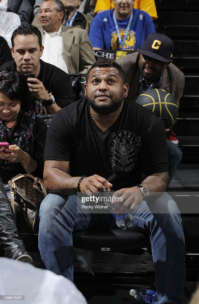 Pablo Sandoval of the San Francisco Giants in attendance of the game between the Cleveland Cavaliers and Golden State Warriors on November 7, 2012 at Oracle Arena in Oakland, California.