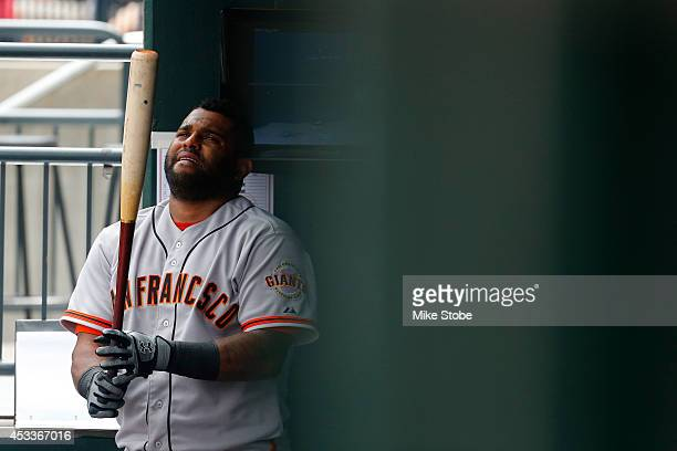 Pablo Sandoval of the San Francisco Giants looks on against the New York Mets at Citi Field on August 4 2014 in the Flushing neighborhood of the...