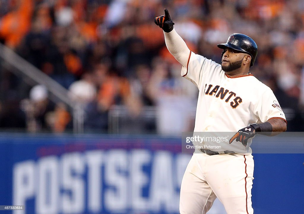 Pablo Sandoval #48 of the San Francisco Giants reacts after a fourth inning double while taking on the St. Louis Cardinals during Game Five of the National League Championship Series at AT&T Park on October 16, 2014 in San Francisco, California.