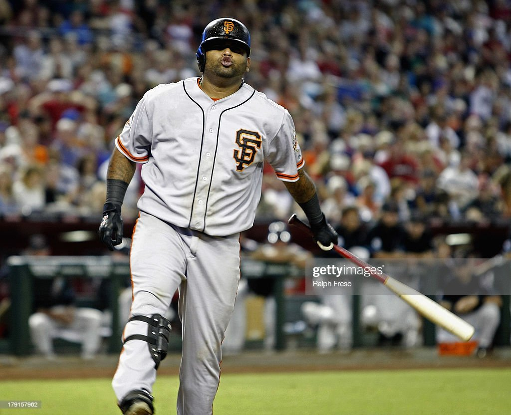 <a gi-track='captionPersonalityLinkClicked' href=/galleries/search?phrase=Pablo+Sandoval&family=editorial&specificpeople=803207 ng-click='$event.stopPropagation()'>Pablo Sandoval</a> #48 of the San Francisco Giants reacts after a swinging strike against the Arizona Diamondbacks during the seventh inning of a MLB game at Chase Field on August 31, 2013 in Phoenix, Arizona.