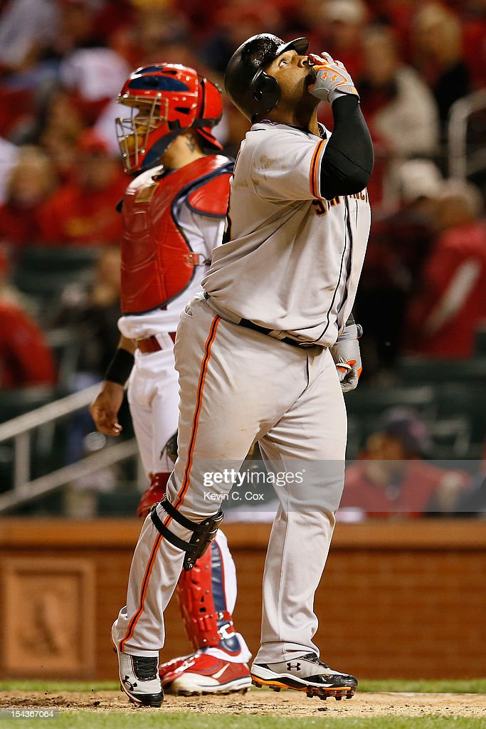 <a gi-track='captionPersonalityLinkClicked' href=/galleries/search?phrase=Pablo+Sandoval&family=editorial&specificpeople=803207 ng-click='$event.stopPropagation()'>Pablo Sandoval</a> #48 of the San Francisco Giants reacts after hitting a two-run home run in the ninth inning against the St. Louis Cardinals in Game Four of the National League Championship Series at Busch Stadium on October 18, 2012 in St Louis, Missouri.