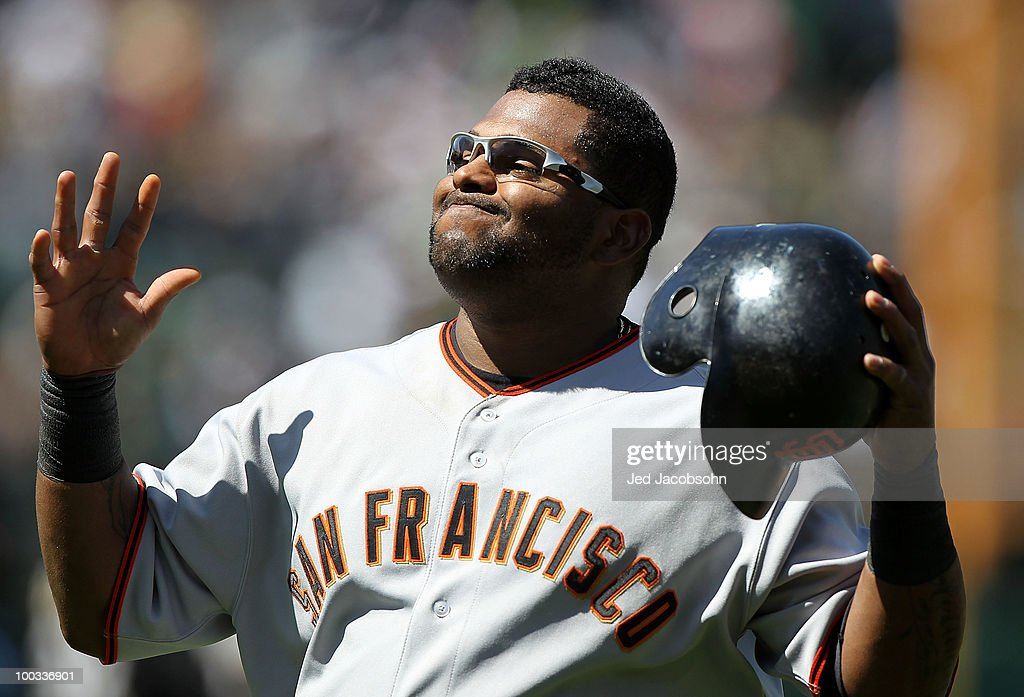 Pablo Sandoval #48 of the San Francisco Giants reacts after losing to the Oakland Athletics during an MLB game at the Oakland-Alameda County Coliseum on May 22, 2010 in Oakland, California.