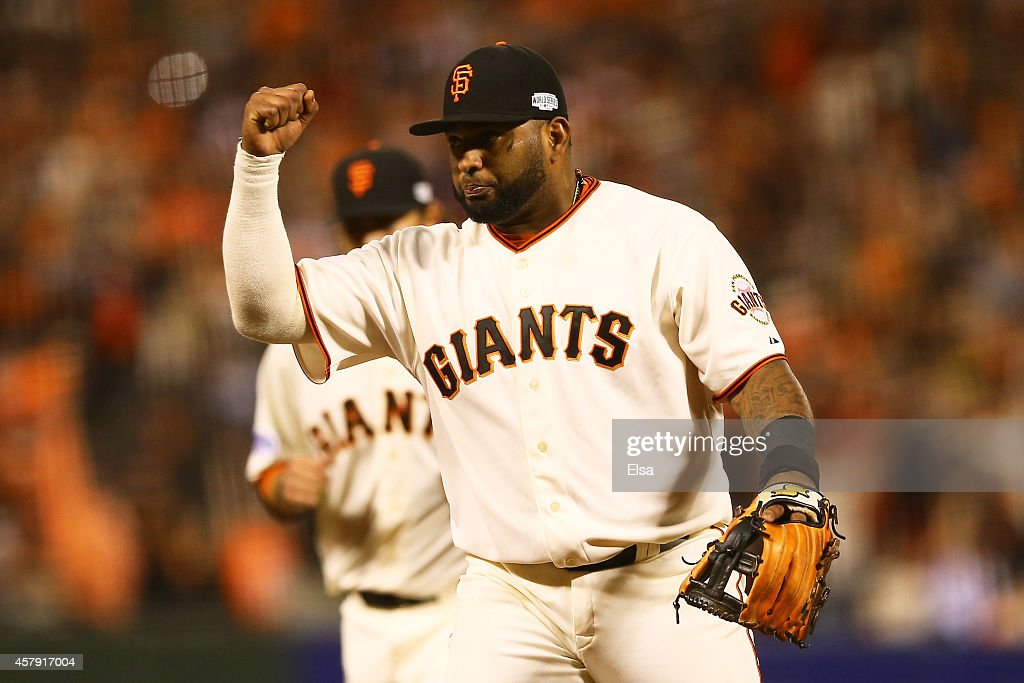 Pablo Sandoval #48 of the San Francisco Giants reacts after the final out of the seventh inning against the Kansas City Royals during Game Five of the 2014 World Series at AT&T Park on October 26, 2014 in San Francisco, California.