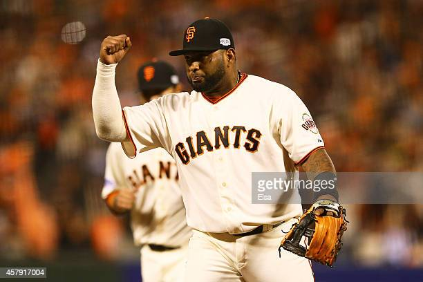Pablo Sandoval of the San Francisco Giants reacts after the final out of the seventh inning against the Kansas City Royals during Game Five of the...