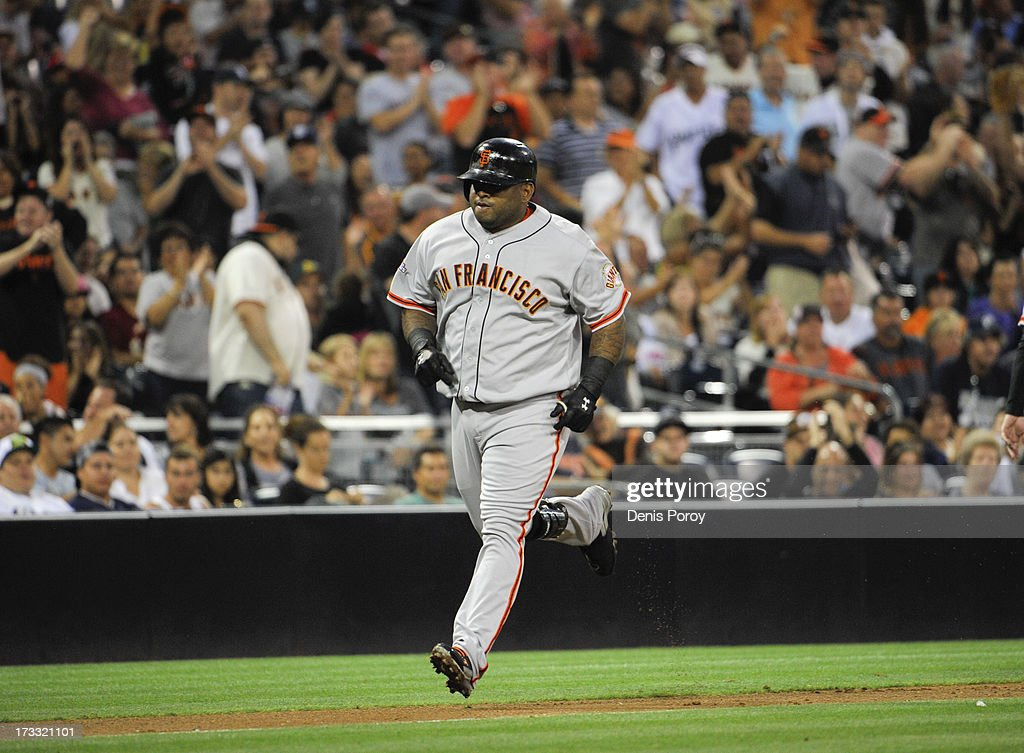 <a gi-track='captionPersonalityLinkClicked' href=/galleries/search?phrase=Pablo+Sandoval&family=editorial&specificpeople=803207 ng-click='$event.stopPropagation()'>Pablo Sandoval</a> #48 of the San Francisco Giants rounds the bases after hitting a solo home run during the fourth inning of a baseball game against the San Diego Padres at Petco Park on July 11, 2013 in San Diego, California.