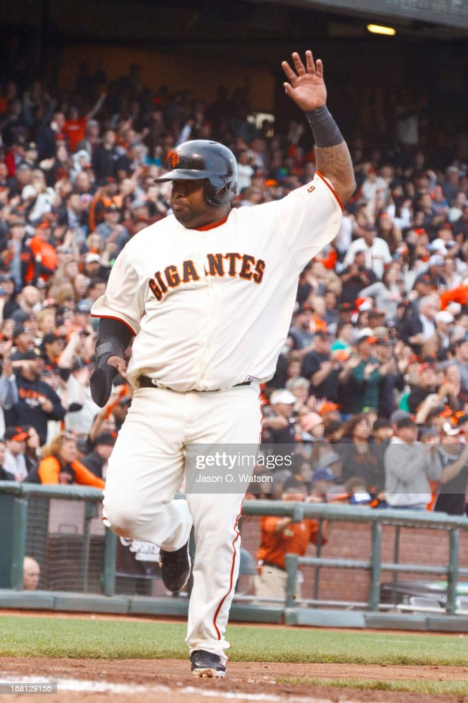<a gi-track='captionPersonalityLinkClicked' href=/galleries/search?phrase=Pablo+Sandoval&family=editorial&specificpeople=803207 ng-click='$event.stopPropagation()'>Pablo Sandoval</a> #48 of the San Francisco Giants scores a run against the Los Angeles Dodgers during the fifth inning at AT&T Park on May 5, 2013 in San Francisco, California.