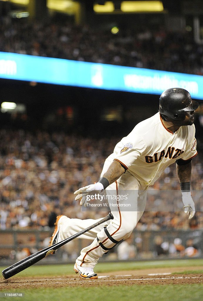 <a gi-track='captionPersonalityLinkClicked' href=/galleries/search?phrase=Pablo+Sandoval&family=editorial&specificpeople=803207 ng-click='$event.stopPropagation()'>Pablo Sandoval</a> #48 of the San Francisco Giants singles against the Los Angeles Dodgers in the sixth inning during an MLB baseball game at AT&T Park July 18, 2011 in San Francisco, California.