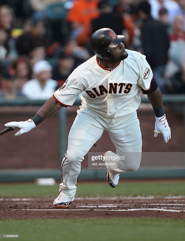 <a gi-track='captionPersonalityLinkClicked' href=/galleries/search?phrase=Pablo+Sandoval&family=editorial&specificpeople=803207 ng-click='$event.stopPropagation()'>Pablo Sandoval</a> #48 of the San Francisco Giants singles in the first inning against the Los Angeles Dodgers at AT&T Park on July 19, 2011 in San Francisco, California.