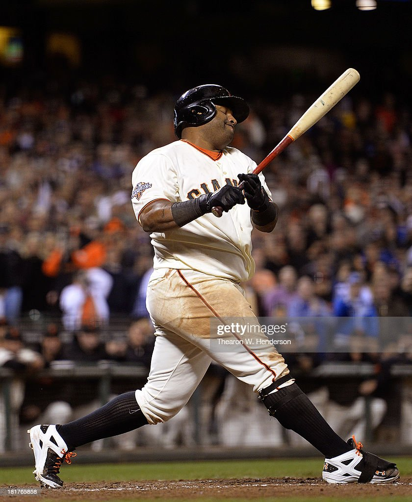 Pablo Sandoval #48 of the San Francisco Giants strikes out in the ninth inning for the final out of the game against the Los Angeles Dodgers at AT&T Park on September 24, 2013 in San Francisco, California. The Dodgers won the game 2-1.