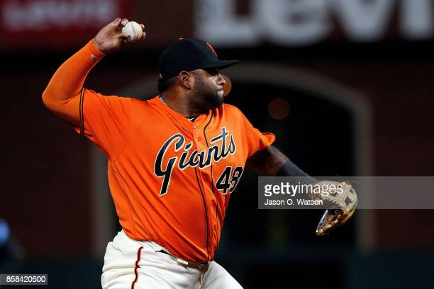 Pablo Sandoval of the San Francisco Giants throws to first base against the San Diego Padres during the first inning at ATT Park on September 29 2017...