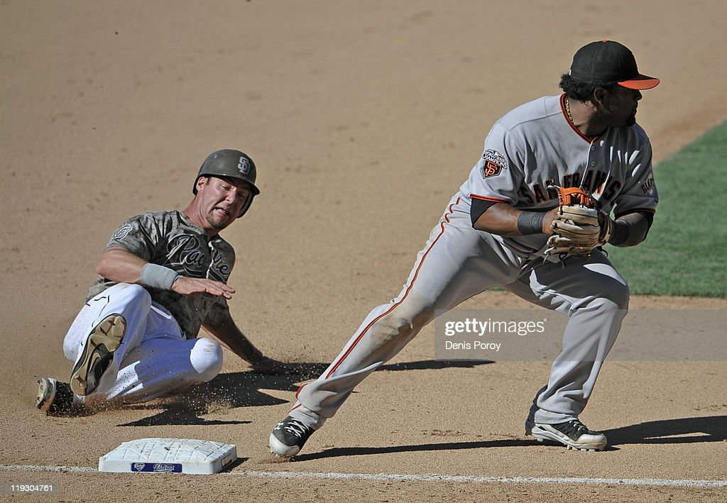 <a gi-track='captionPersonalityLinkClicked' href=/galleries/search?phrase=Pablo+Sandoval&family=editorial&specificpeople=803207 ng-click='$event.stopPropagation()'>Pablo Sandoval</a> #48 of the San Francisco Giants throws to first for a double play after getting the force out at third base on Kyle Phillips #16 of the San Diego Padres during the 11th inning of a baseball game at Petco Park on July 17, 2011 in San Diego, California.