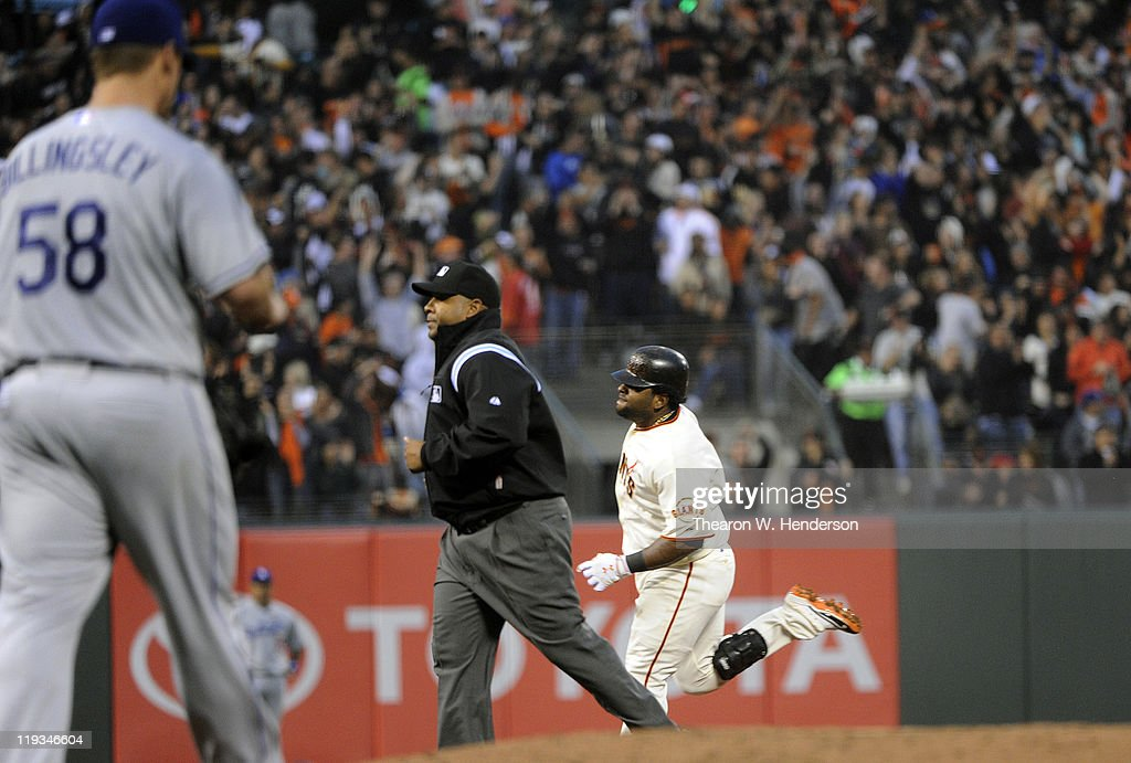 <a gi-track='captionPersonalityLinkClicked' href=/galleries/search?phrase=Pablo+Sandoval&family=editorial&specificpeople=803207 ng-click='$event.stopPropagation()'>Pablo Sandoval</a> #48 of the San Francisco Giants trots around the bases after hitting a home run off of <a gi-track='captionPersonalityLinkClicked' href=/galleries/search?phrase=Chad+Billingsley&family=editorial&specificpeople=533047 ng-click='$event.stopPropagation()'>Chad Billingsley</a> #58 of the Los Angeles Dodgers in the fourth inning during an MLB baseball game at AT&T Park July 18, 2011 in San Francisco, California.