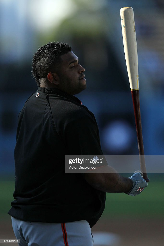 Pablo Sandoval #48 of the San Francisco Giants waits for his turn in the batting cage during batting practice prior to the MLB game between the San Francisco Giants and the Los Angeles Dodgers at Dodger Stadium on June 24, 2013 in Los Angeles, California.