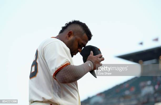 Pablo Sandoval of the San Francisco Giants walks back into the dugout before their game against the Philadelphia Phillies at ATT Park on August 17...