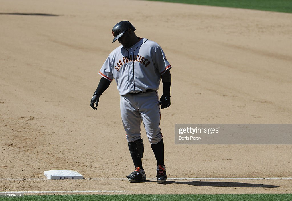 <a gi-track='captionPersonalityLinkClicked' href=/galleries/search?phrase=Pablo+Sandoval&family=editorial&specificpeople=803207 ng-click='$event.stopPropagation()'>Pablo Sandoval</a> #48 of the San Francisco Giants walks back to the dugout after grounding out during the eighth inning of a baseball game against the San Diego Padres at Petco Park on September 2, 2013 in San Diego, California. The Padres won 4-1.
