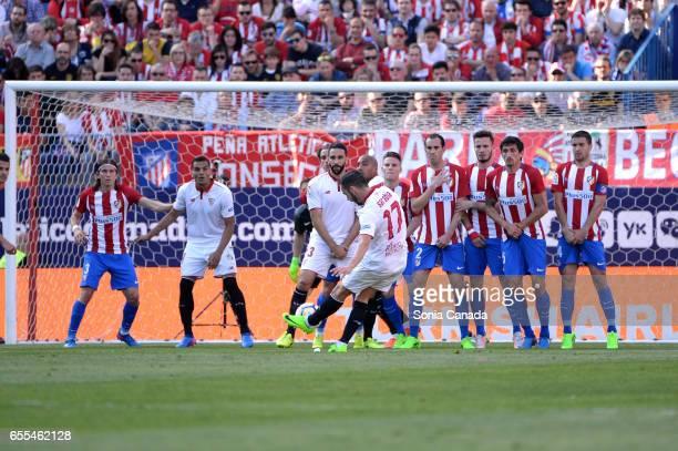 Pablo Sarabia #17 of Sevilla FC during The La Liga match between Atletico Madrid v Valencia FC at Vicente Calderon on March 19 2017 in Madrid Spain