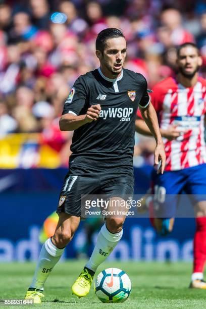 Pablo Sarabia Garcia of Sevilla FC in action during the La Liga 201718 match between Atletico de Madrid and Sevilla FC at the Wanda Metropolitano on...